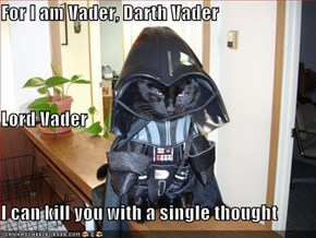 For I am Vader, Darth Vader Lord Vader I can kill you with a single thought