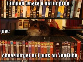 I finded where u hid ur pr0n... give cheezburger or I puts on YouTube