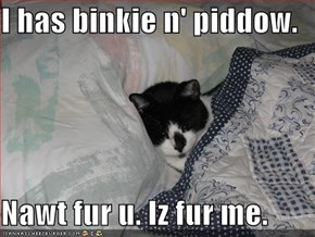 I has binkie n' piddow.  Nawt fur u. Iz fur me.