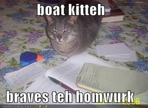boat kitteh  braves teh homwurk