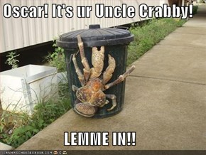 Oscar! It's ur Uncle Crabby!  LEMME IN!!