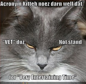"Acronym Kitteh noez darn well dat   ""VET"" duz                               Not stand          for ""Very Entertaining Time"""