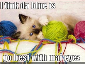 I tink da blue is  go best with mai eyez