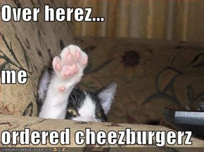 Over herez... me  ordered cheezburgerz