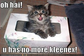 oh hai!  u has no more kleenex!
