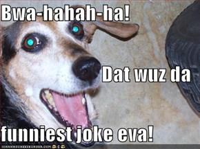 Bwa-hahah-ha! Dat wuz da funniest joke eva!