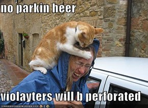 no parkin heer  violayters will b perforated