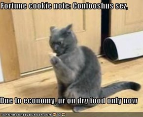 Fortune cookie note: Confooshus sez,  Due to economy, ur on dry food only now
