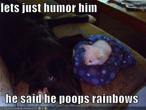 lets just humor him    he said he poops rainbows