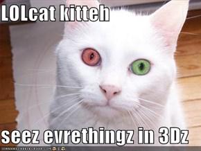 LOLcat kitteh  seez evrethingz in 3Dz