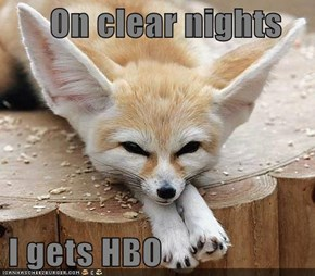 On clear nights   I gets HBO