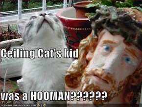 Ceiling Cat's kid was a HOOMAN??????