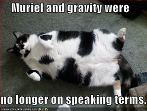 Muriel and gravity were  no longer on speaking terms.