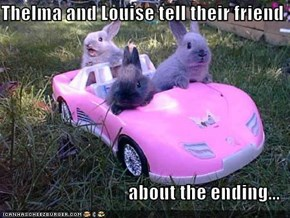 Thelma and Louise tell their friend  about the ending...