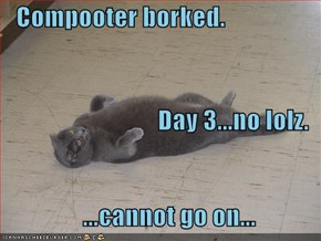 Compooter borked. Day 3...no lolz.       ...cannot go on...