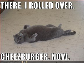 THERE. I ROLLED OVER.  CHEEZBURGER. NOW.