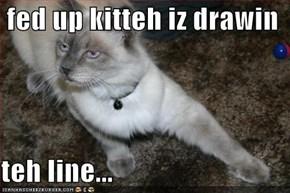 fed up kitteh iz drawin  teh line...