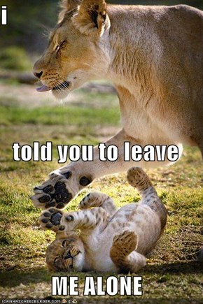 i  told you to leave  ME ALONE