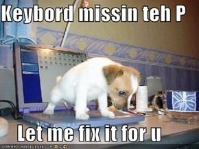 Keybord missin teh P      Let me fix it for u
