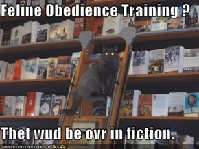 Feline Obedience Training ?  Thet wud be ovr in fiction.
