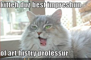 kitteh duz best impreshun  of art histry professur