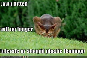 Lawn Kitteh will no longer tolerate ur stoopid plastic flamingo