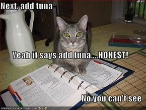 Next, add tuna Yeah it says add tuna....HONEST! No you can't see