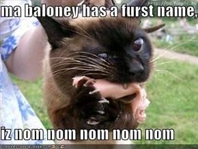 ma baloney has a furst name,  iz nom nom nom nom nom