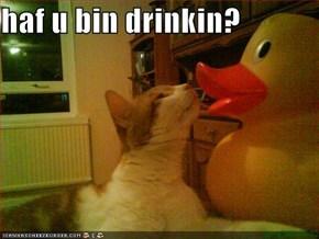 haf u bin drinkin?