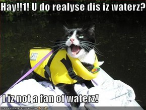 Hay!!1! U do realyse dis iz waterz?!   I iz not a fan of waterz!