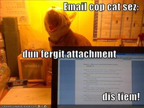 Email cop cat sez: dun fergit attachment dis tiem!