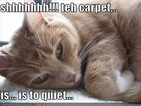 shhhhhhh!!! teh carpet...  is... is to quiet...