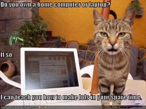 Do you own a home computer or laptop? If so, I can teach you how to make lols in your spare time.