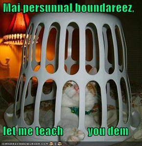 Mai persunnal boundareez,   let me teach           you dem