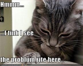 Hmmm... ...I tink I see the problum rite here...