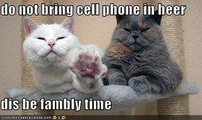 do not bring cell phone in heer  dis be fambly time