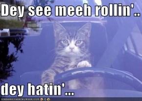 Dey see meeh rollin'..  dey hatin'...