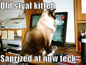 Old styal kitteh  Saprized at nuw teck