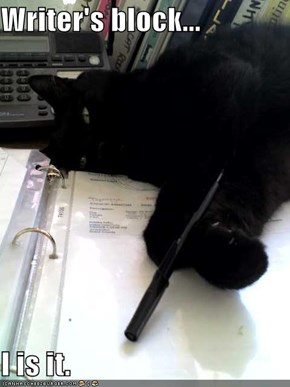 Writer's block...  I is it.