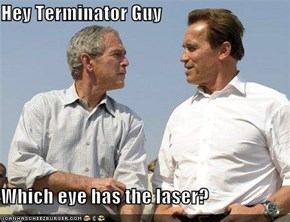 Hey Terminator Guy  Which eye has the laser?