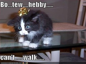 Bo...tew....hebby.....  can't......walk.....