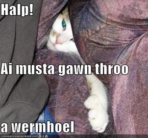 Halp! Ai musta gawn throo a wermhoel
