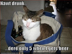 Nawt drunk...  ...dere only 5 when I gets heer
