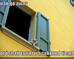 nao go away  or i shall tawnt u a sekkund tiem!