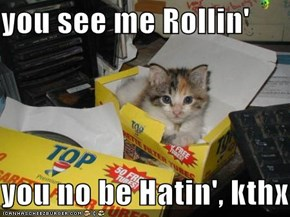 you see me Rollin'  you no be Hatin', kthx