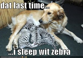 dat last time...  ...i sleep wit zebra