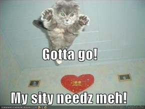 Gotta go! My sity needz meh!