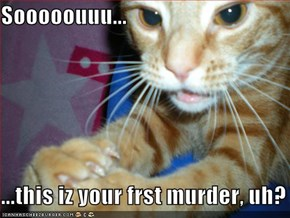 Sooooouuu...  ...this iz your frst murder, uh?