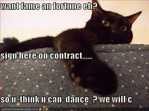 want fame an fortune eh? sign here on contract,,,,,, so u  think u can  dance  ? we will c