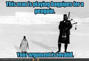 This man is playing bagpipes for a penguin.